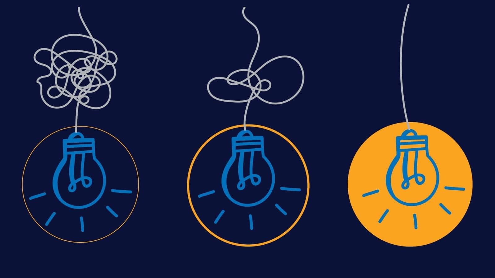 Illustration: Three lightbulbs