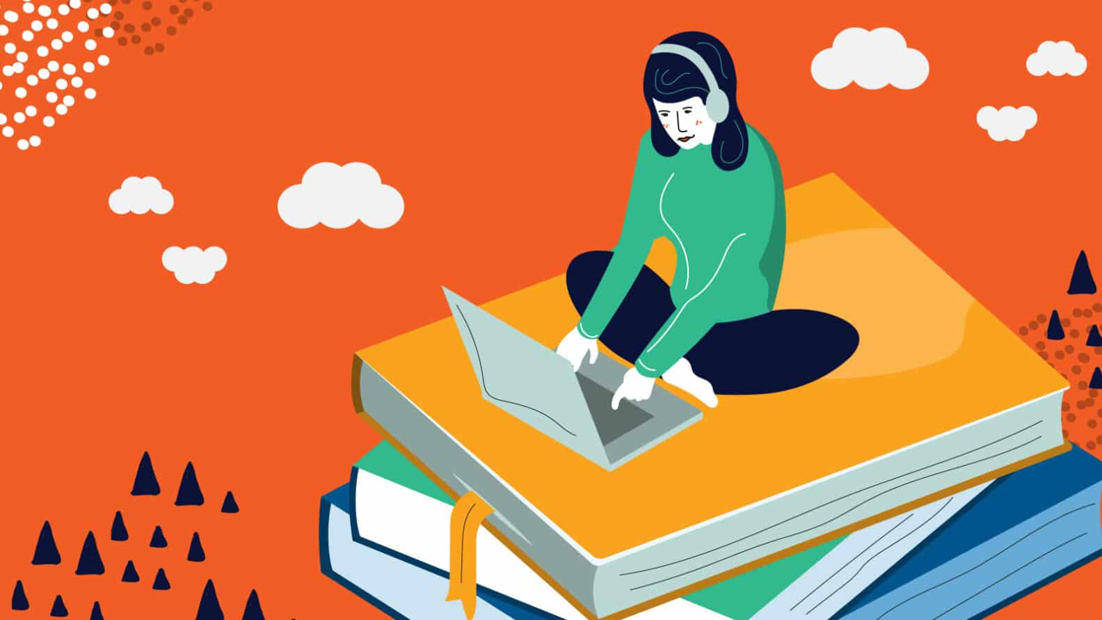 Illustration: Woman atop a stack of books on her laptop practicing the 50/10 rule of studying