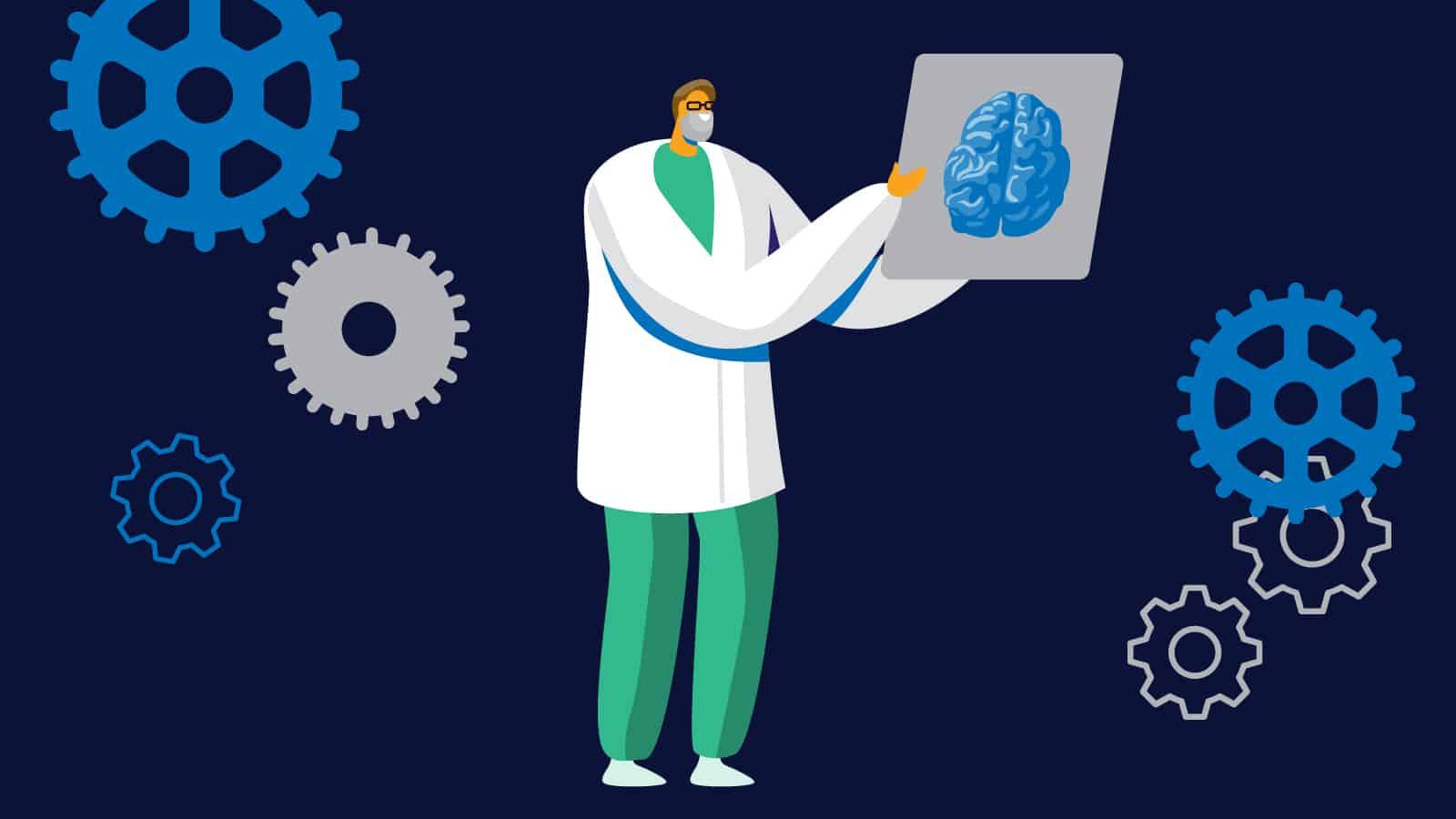 Med student examining brain.