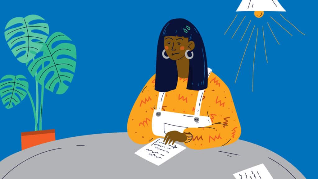 Illustration: Girl at a table taking medical boards exam on a sheet of paper in front of her