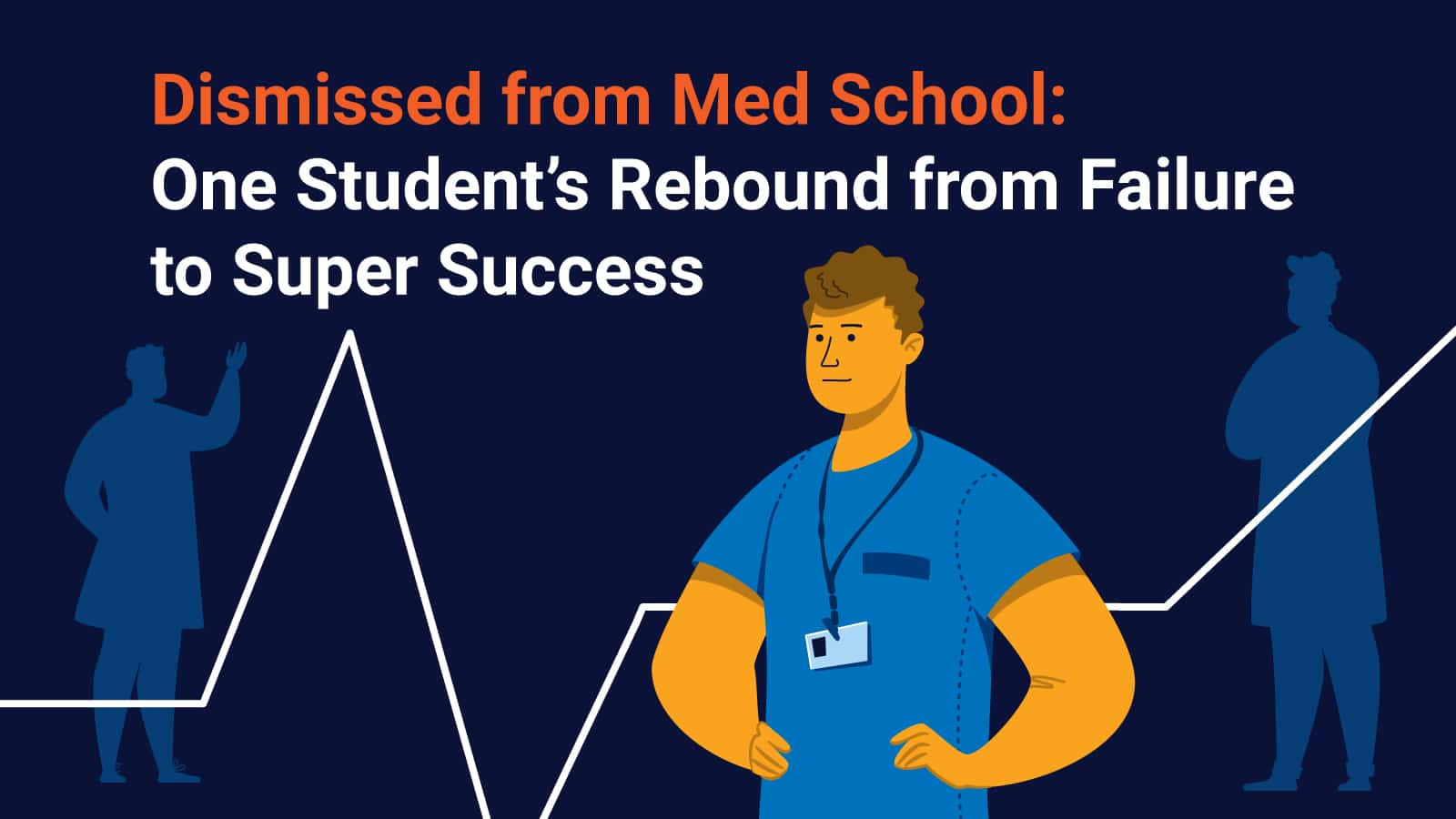 Med student thinking about how to succeed in med school in front of dark blue background
