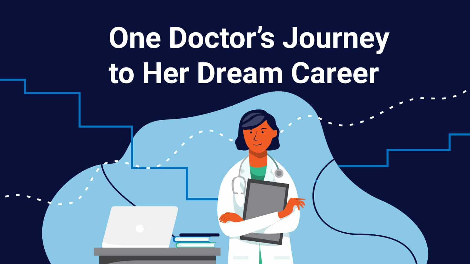 Illustration: Doctor with laptop and books reviews the path she took to succeed in med school