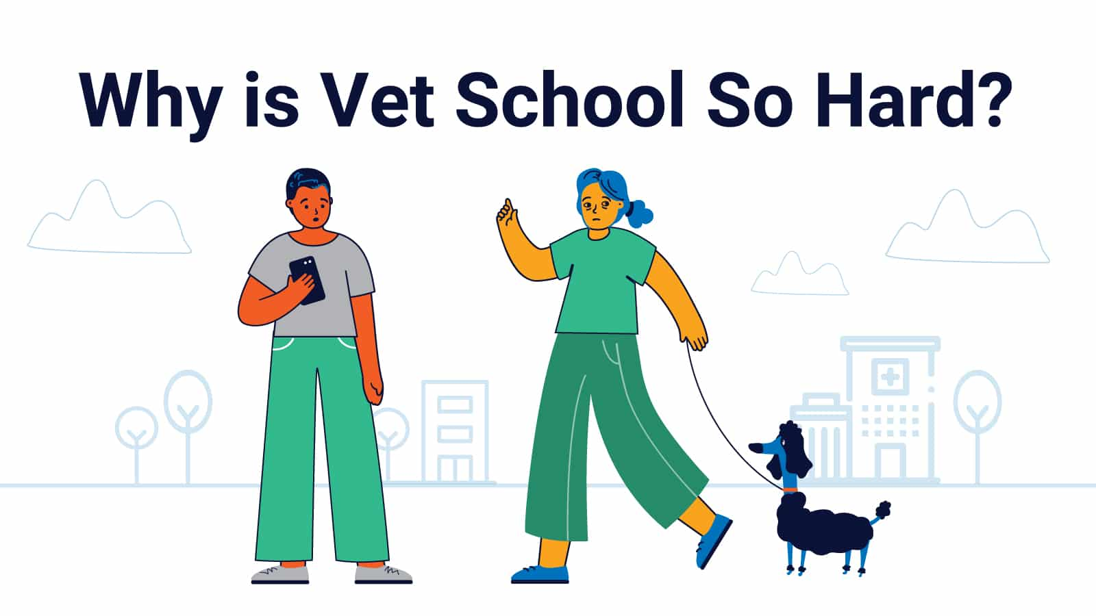 Struggling Vet Students with a dog